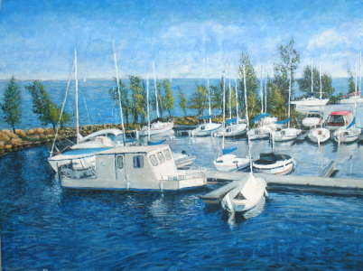 At Dock, Acrylic on Masonite board, 18 X 24 in., $$0.0000
